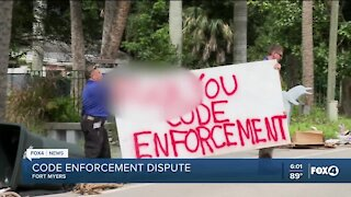 Code enforcement removes vulgar signs from Fort Myers property