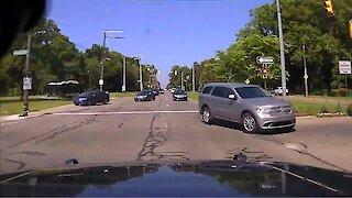 Dash cam captures insane footage of stolen police car