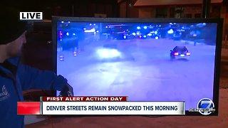 Denver streets remain snow packed Thursday