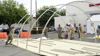 Airmen build tents, increase COVID patient care during surge