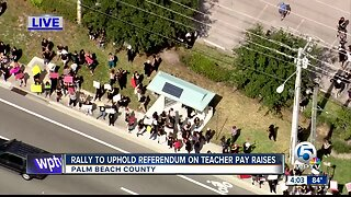 Palm Beach County teachers rally to protect pay raises approved by voters