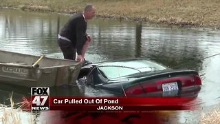 Car pulled from pond Monday morning