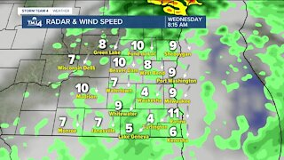 Scattered showers overnight with morning lows in the 40s Wednesday