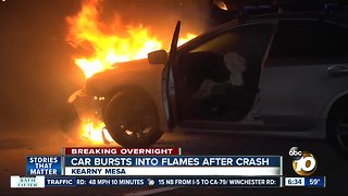 Man, service dog rescued before car bursts into flames