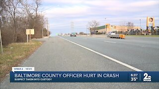 Baltimore County officer hurt in crash