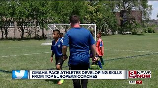 PACE athletes learning soccer skills from professional European coaches