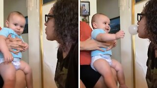Baby thinks popping bubble gum is the funniest thing ever