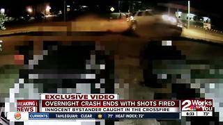 Crash ends with shots fired
