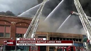 Firefighters battle three-alarm blaze in Milwaukee