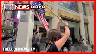"""NYC: Protesters Holding Upside Down American Flag and """"Trump Won"""" Flag Outside - 3910"""