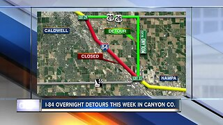 TRAFFIC ALERT: I-84 in Canyon County will have overnight detours