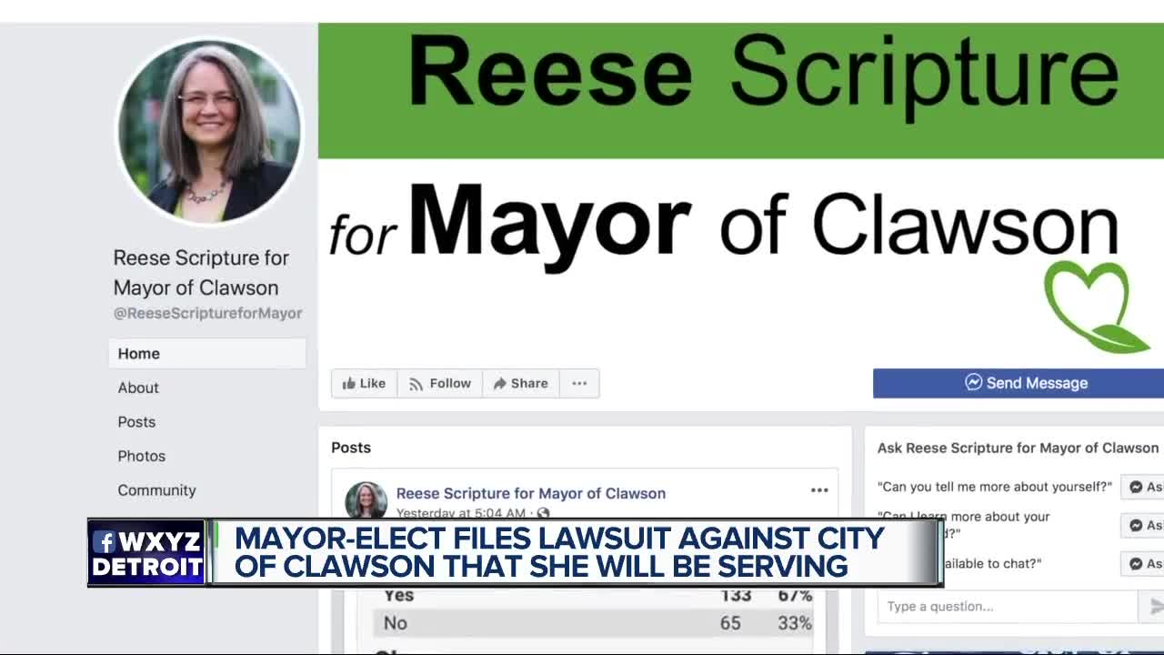 Mayor-elect files lawsuit against city of Clawson