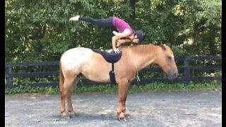 En uvanlig heste-øvelse: Yoga på hesteryggen!