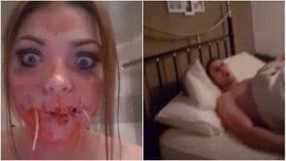 Kvinne skremmer kjæresten hennes med Halloween sminke