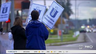 Healthcare workers protest employer