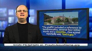 2013-05-01-Homosexuals spray graffiti on Catholic Church - 1 min. - Dr. Chaps