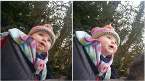 Vauva kuuntelee linnunlaulua ensimmäistä kertaa