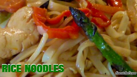 Rice Noodles with Chicken and Vegetables   Recipe by Chef George Krumov