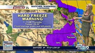 Hard Freeze Warning Thursday morning