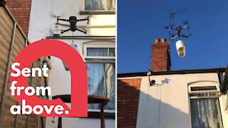 Hilarious moment man uses drone to deliver toilet roll