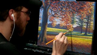 Acrylic Landscape Painting of an Autumn Oak Tree - Time-lapse - Artist Timothy Stanford