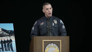 Sgt. Drelles, Talley's supervisor, speaks at memorial service