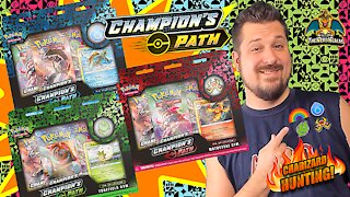 Champion's Path Gym Pin Collection Set | Charizard Hunting | Pokemon Cards Opening