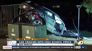 Car crashes into fence at San Marcos High School after chase