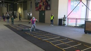 Children were out moving for Project Play 60 Express at Lambeau Field on Saturday