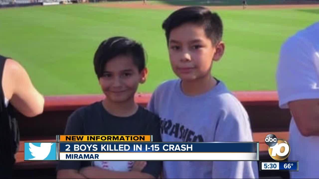 Two boys killed in crash on I-15 in Miramar