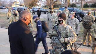 Totally Pandering to Our Military (SMFH) U.S. Sec of Defense Visits National Guard Protecting U.S. Capitol