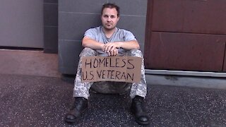 Social experiment: Homeless veteran sits alone asking for help