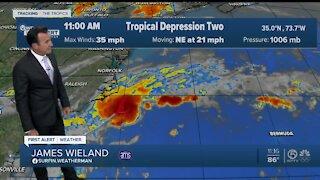 Tropical Depression Two forms off North Carolina coast