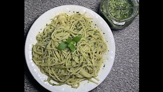 Nut-Free Basil Pesto made with 5 ingredients in a food processor
