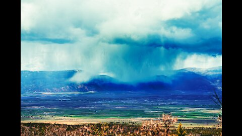 Beautiful View Of Oncoming Spring Shower Time-lapse