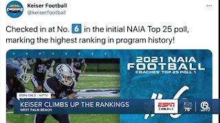 Keiser football climbing rankings