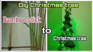 How to make Christmas tree | bamboo stick to beautiful Christmas tree
