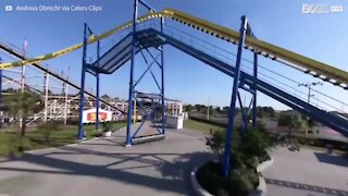 Drone captures roller-coaster ride from a mind-boggling perspective
