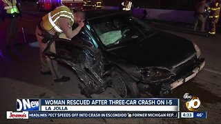 Woman, dogs rescued from car after I-5 crash