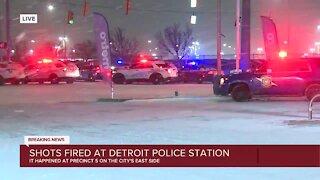 Officer injured after suspect shoots at police station in Detroit
