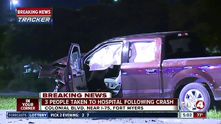Three rushed to hospital after early-morning crash