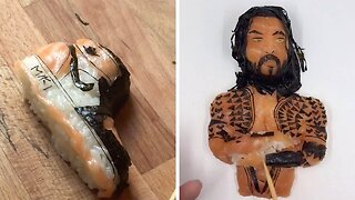 SHRIMPLY THE BEST: TALENTED CHEF CREATES WORKS OF ART FROM HIS SUSHI DISHES