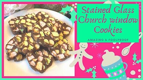 Stained Glass Church Window Cookies, Rainbow Marshmallow Chocolate