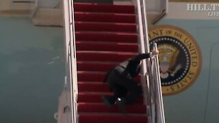 Biden Stumbles While Walking up the Stairs to Air Force One