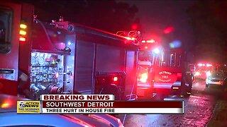 3 hurt in southwest Detroit house fire