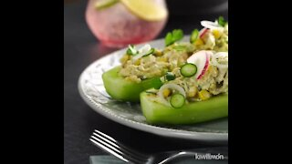 Cucumbers Stuffed with Chicken Salad