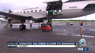 Donated aid items flown to Bahamas from Stuart
