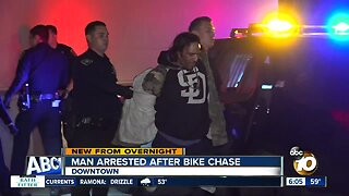 Police arrest man who led officers on bike chase in downtown San Diego