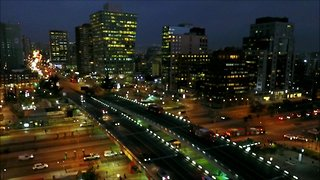 Av. Apoquindo during after sunset in Santiago, Chile