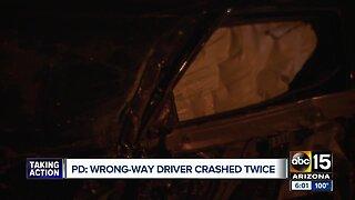 Wrong-way driver causes 2 crashes early Saturday